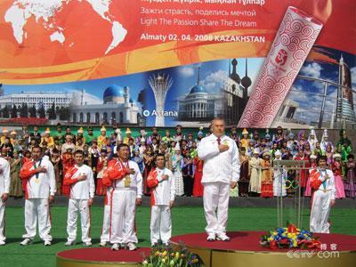 几次彩排,记得哈萨克斯坦的国歌旋律优美中又不失激昂,很好听.图片