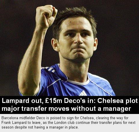 兰帕德欲投奔穆帅 无帅切尔西将1500万镑签德科