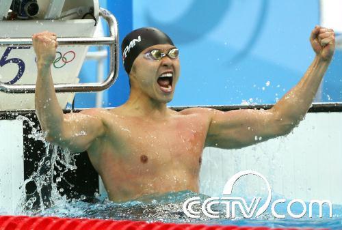 奥运男子100米蛙泳 日本选手北岛康介夺冠