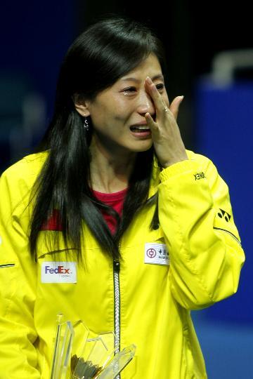 组图 六位世界冠军举行退役仪式 张宁泪洒现场