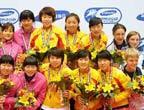 组图:中国四金花挫败韩国 实现接力三连冠